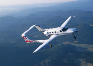 The CarbonAero on a test flight over the Rocky Mountains.