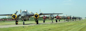 A line of B-25 bombers ready for takeoff during the airshow, which featured the largest gathering of the aircraft since World War II.