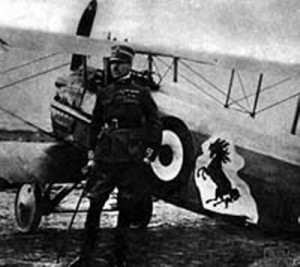A meeting in 1923 with Count Enrico Baracca, the father of Italian World War I Ace of Aces Francesco Baracca (shown), led to the creation of the well-known Ferrari emblem.