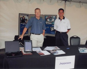 L to R: Rodi Von Barby, manager, marketing services and Ted Glogovac, product manager, international trip planning, represented Jeppesen at the recent Pacific Northwest Business Aircraft & Jet Preview.