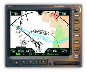 The MX20, a multi-function display manufactured by UPS Aviation Technologies, is shown running a version of JeppView developed specifically for the MX20.