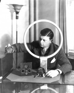 "Before getting involved in aviation, Bill Lear was a prolific inventor of electronic devices, including the ""Lear-o-Scope"" radio direction-finding system he is demonstrating here."