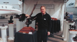 Sculptor Joe Ryan displayed his creations at the Pacific Northwest Business Aircraft & Jet Preview held in April; he is a multi-engine and instrument rated pilot.