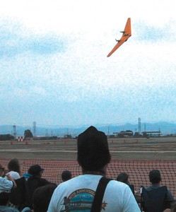 A Northrop N9MB Flying Wing piloted by Ron Hackworth performs at the Chino airshow.