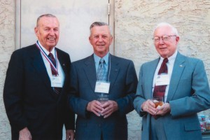 L to R: 1996 Arizona Aviation Hall of Fame inductee James Greenwood; 2002 Arizona Aviation Hall of Fame inductee, Brig. General Raymond Haupt, USAF (Ret.); and William Rafferty, trustee of the Arizona Aviation Hall of Fame.