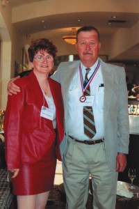 Ann Ferguson and 2001 Arizona Aviation Hall of Fame inductee Frederick Ferguson enjoy cocktails prior to the ceremony.