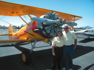 Gypsy Flyers Angel and Don Mayes prepare to take off in their Navy N3N biplane.