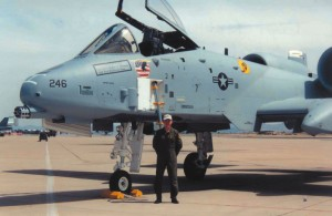 Capt. Kiebler in front of an A-10.