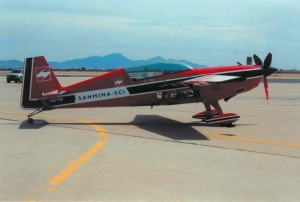 The Sanmina-SCI on the runway prior to aerobatic flying.