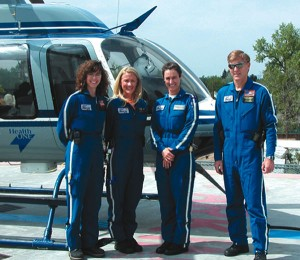 L to R: AirLife crew Beth Ahl, critical care transport nurse; Linda Gray, flight nurse; Missy Parris, chief flight nurse; and Kevin Kyzer, pilot.