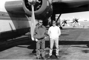Pilot Gordon Koenig flies the converted B-24 behind him with co-pilot Mike Flynn, right. The two pilots fly as close as 100 feet above the tree line to deliver their payload.