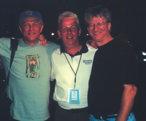 Rob Scroggins of Illusions Entertainment Services (center) with Paul Cotton (left) and Richie Furay (right) of Poco. Furay is also a member of the Rock and Roll Hall of Fame.