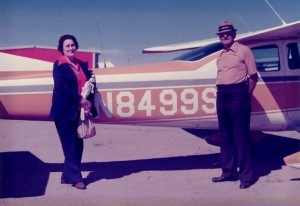 Cole and Mildred Kugel, in their traveling days, pose in front of 8499 Sugar, their 1965 Cessna 180.
