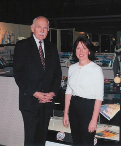Harry Blout, president and executive director of the Aviation & Space Center of the Rockies, and Nancy McCurdy, manager of the museum gift shop.