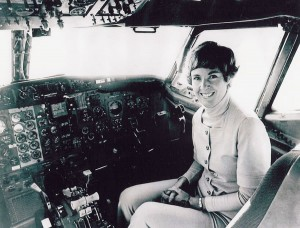 Emily Howell Warner in a Frontier Boeing 737 (1973).