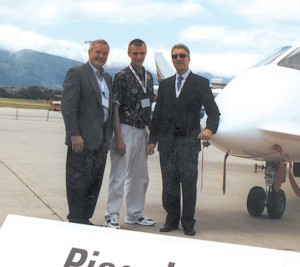 L to R: Jerry Lips, nephew Virgilious and Piero Ferrari attending the EBACE Convention in Geneva. The Europa Aviation and Business Journal debuted in May 2002.