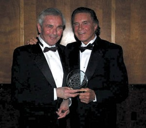 In 2001, the Long Beach Film Foundation presented Cliff Robertson (right) with a lifetime achievement award at the Long Beach International Film Festival.
