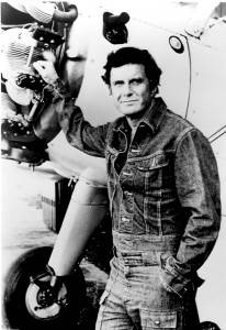 Cliff Robertson in front of a Fairchild PT-19.