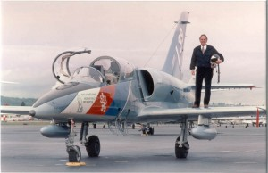 Joe Clark's love of aviation includes this L39 fighter jet, which he has flown and marketed throughout the world.