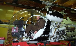 "Dr. Forrest M. Bird, shown in his 1968 Bell 47 (G3B-2), was inducted into the National Inventors Hall of Fame in 1995, for his unique fluid dynamics.  His aviation activities are his ""medical escape."""
