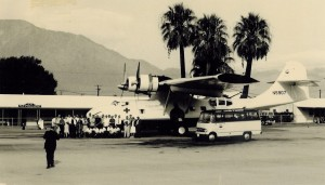 "In the 1960s, Dr. Bird converted a PBY amphibian to a four-engine airplane, with intercontinental fuel range. Shown at Palm Springs Airport, the ""Bird Innovator"" was set up as an air evac transport."