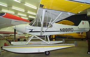 Modifications on Dr. Bird's 1981 Piper PA-18-150 Supercub (N88IRD) include installation of a 180-hp Lycoming O-360 engine and Wipaire 2100 amphibious floats.
