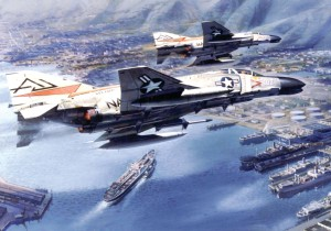 "A pair of Navy F-4 Phantoms from the ""USS Forrestal."""