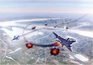 Air Force laser-marking F-4D Phantoms bomb a bridge in Hanoi.