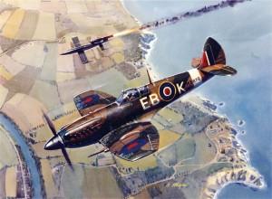 "An Mk XII clipped-wing Spitfire intercepts a German V-1 ""Buzz Bomb."""