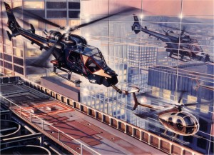 "Blue Thunder"" helicopter from movie of the same name."