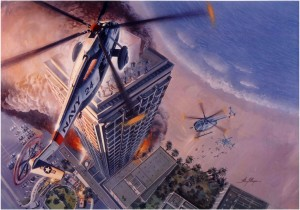 Above: Navy SH-3 Sea Kings above the 1986 Dupont Hotel fire in San Juan Puerto Rico.