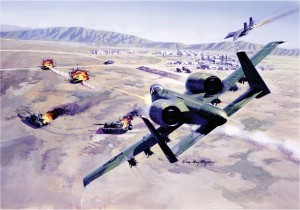 An Air Force A-10 Thunderbolt II Warthog destroys tanks.