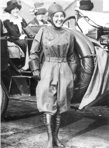 The heavy tweed flying suit Matilde Moisant wore saved her life in her fourth and last accident. The ensuing fire burned only the exposed parts of her skin.
