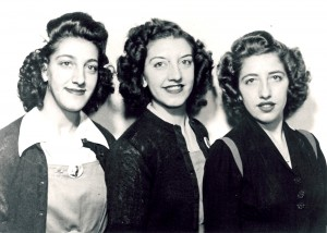 L to R: Sarah (who worked in M-12, Bldg. 5), Josephine (Shop 10, Bldg. 17) and Theresa (administration building), at Republic Aviation Corp., Farmingdale, Long Island.