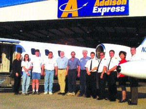 "Kevin Lacey points out that many Addison Express employees are private pilots, student pilots or flight instructors. ""The types of people we're looking to hire have this illness called aviation in their blood,"" he said. ""They just want to be at the airpor"