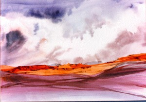 "Forbidding Sky"" is a 23"" x 27"" watercolor."