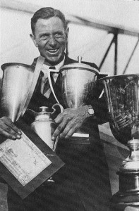 Doug Davis with numerous trophies won in the 1930s acrobatic and racing entries.