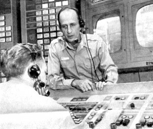 Major Bankey in a Vandenberg Air Force Base control room for the launching of an Atlas ICBM Missile in 1961.
