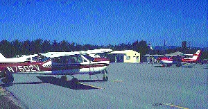 Oceano Airport tie=down and ramp.