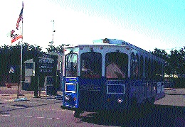 The Coastal Cruiser Trolley outside Oceano Airport.
