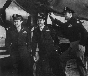 "Col. Paul W. Tibbets, center, recruited Capt. Theodore J. Van Kirk, navigator, left, and Maj. Thomas W. Ferebee, bombardier, right, from his former B-17 crew for his ""atomic air fleet."""