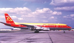Red Lane's DC-8 in airline service with Air Spain in 1973.