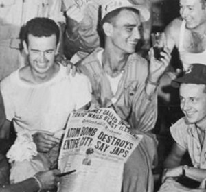 L to R: Sgt. Ed Buckley, radar operator on The Great Artiste, and Enola Gay crewmembers Sgt. Joseph Stiborik, radar operator, with S-Sgt. George R. Caron, tail gunner.