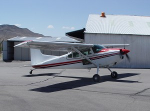 Barron Hilton's Cessna A185F Skywagon II is used as a tow plane.