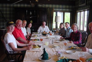 From head of table, clockwise: Barron Hilton, Hyla and Richard Bertea, Holly Ciedeberg, Bill Ballhaus, Molly Ivans, Clay Lacy, and Peter and Ginny Ueberroth.