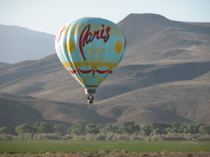 One of Barron Hilton's three hot air balloons over the ranch.