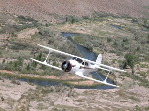Barron Hilton's prized Staggerwing, with Mike Gillis at the controls, approaches the Flying My Ranch, en route from Reno/Tahoe International.