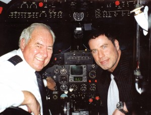 As a surprise birthday gift arranged by his wife, Kelly Preston, Clay flew John Travolta, his family and friends on a night flight along the California Coast in Clay's vintage DC-3. Having a real love of aviation, particularly old airliners.