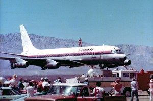 "The ""Human Fly"" atop a DC-8 at the Mojave 1000."