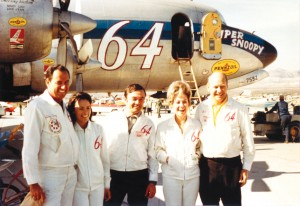 "Clay and Lois Lacy, a crewmember, and Mary Lou and Al Paulson at the Mojave 1000 in 1970, with the DC-7, ""Super Snoopy."""